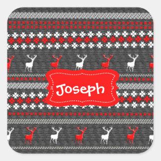 Sticker Carré Motif scandinave de Noël de cerfs communs