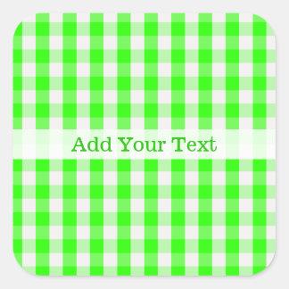 Sticker Carré Motif vert au néon de guingan par Shirley Taylor