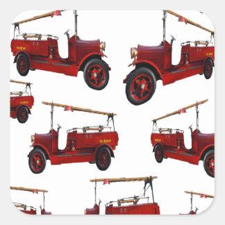 Sticker Carré Motif vintage rouge de camion de pompiers,