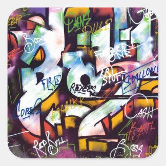 Sticker Carré Mots colorés de graffiti