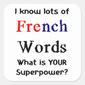 Sticker Carré mots français