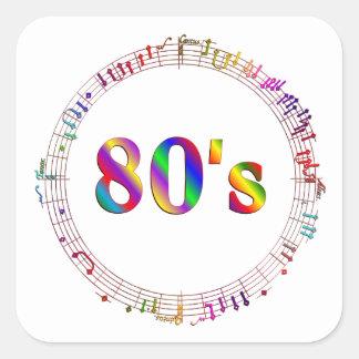 Sticker Carré musique 80s