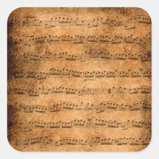 Sticker Carré Musique de feuille vintage