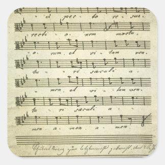 Sticker Carré Musique de feuille vintage, illustration musicale