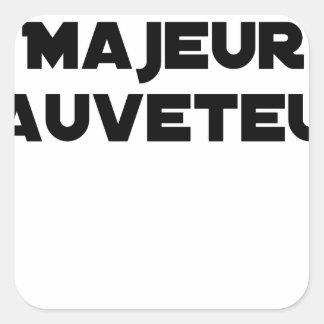Sticker Carré Naître Majeur Sauveteur - Jeux de Mots