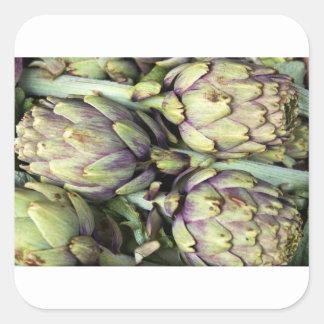 Sticker Carré Natures mortes siciliennes avec des artichauts