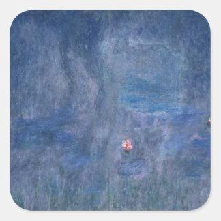 Sticker Carré Nénuphars de Claude Monet | : Réflexions des