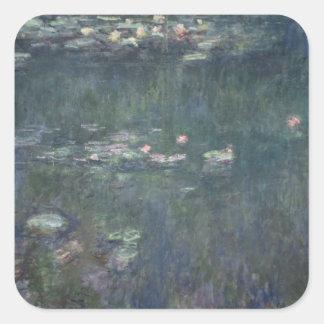 Sticker Carré Nénuphars de Claude Monet | : Réflexions vertes