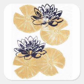 Sticker Carré Nénuphars d'or