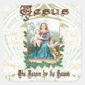 Sticker Carré Noël 2 - Jésus est la raison de la saison