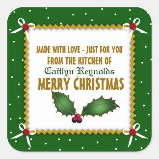 Sticker Carré Noël astucieux fait avec amour (vert)