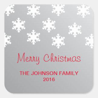Sticker Carré Noël blanc de flocons de neige d'argent élégant