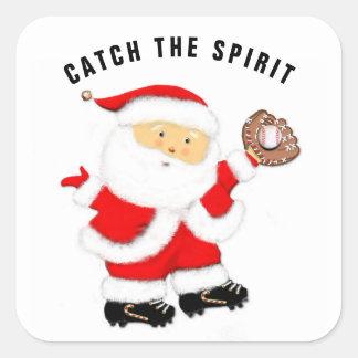 Sticker Carré Noël de base-ball