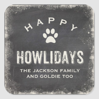 Sticker Carré Noël heureux drôle d'amoureux des chiens de