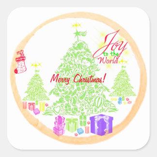 "Sticker Carré Noël ""joie biscuit à monde"""