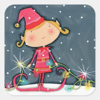 Sticker Carré Noël lumineux Elf