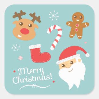 Sticker Carré Noël mignon avec Père Noël, renne, pain d'épice