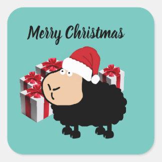 Sticker Carré Noël mignon drôle de moutons de bande dessinée de