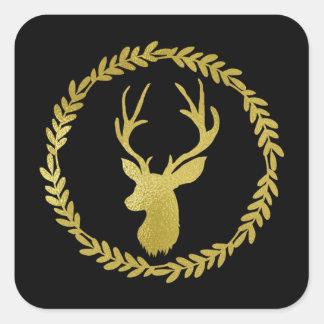 Sticker Carré Noël noir de cerfs communs d'or de guirlande