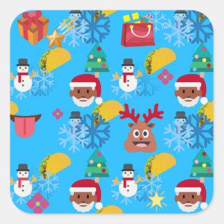 Sticker Carré Noël noir de taco de père Noël