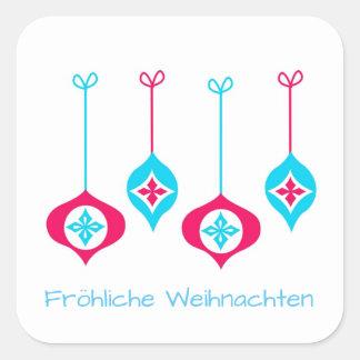 Sticker Carré Noël ornemente Fröhliche Weihnachten