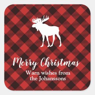 Sticker Carré Noël rouge et noir d'orignaux et de Buffalo de