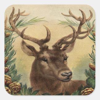Sticker Carré Noël rustique de cerfs communs de mâle de nature