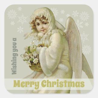 Sticker Carré Noël victorien de cru de l'ange CC0956 d'hiver