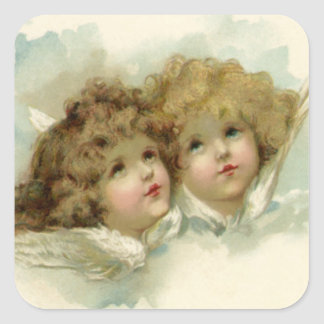 Sticker Carré Noël vintage, anges victoriens dans les nuages