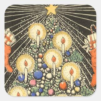 Sticker Carré Noël vintage, arbre avec des bougies et une étoile