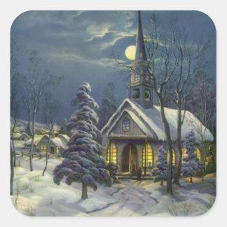 Sticker Carré Noël vintage, église d'hiver dans la neige avec la