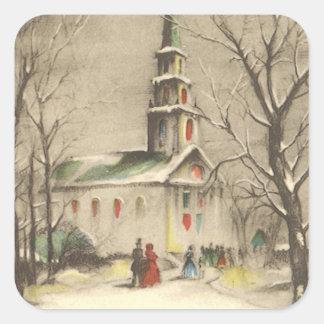 Sticker Carré Noël vintage, église en hiver Snowscape