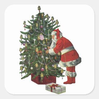 Sticker Carré Noël vintage, le père noël avec des présents