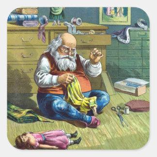 Sticker Carré Noël vintage, le père noël faisant des poupées de