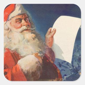 Sticker Carré Noël vintage, liste vilaine du père noël Nice