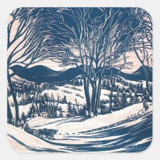 Sticker Carré Noël vintage, paysage de montagne d'hiver