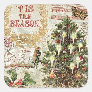 Sticker Carré Noël vintage Tis la saison