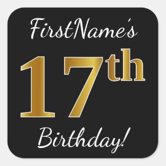 Sticker Carré Noir, anniversaire d'or de Faux 17ème + Nom fait