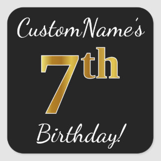 Sticker Carré Noir, anniversaire d'or de Faux 7ème + Nom fait