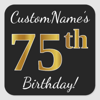 Sticker Carré Noir, anniversaire d'or de Faux soixante-quinzième