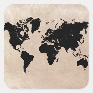 Sticker Carré noir de carte du monde