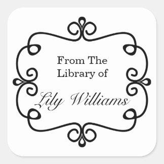 Sticker Carré Noir et blanc de la bibliothèque de l'ex-libris