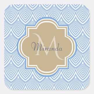 Sticker Carré Nom bronzage bleu-clair de monogramme d'échelles