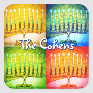 Sticker Carré nom coloré de coutume de photo de 4 menorahs de
