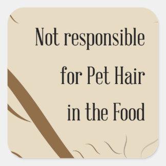 Sticker Carré Non responsable des cheveux d'animal familier dans