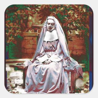 Sticker Carré Nonne française dans le jardin de la contemplation