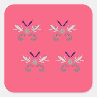 Sticker Carré Nostalgie rose de luxe d'éléments