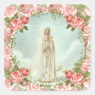 Sticker Carré Notre Madame des roses roses de Fatima
