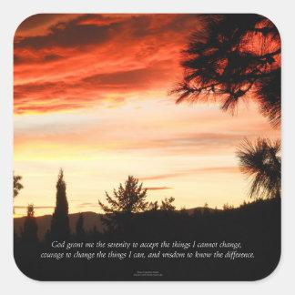 Sticker Carré Nuages de rouge de coucher du soleil de prière de