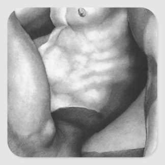 Sticker Carré Nudité-mâle carré de beaux-arts d'autocollant
